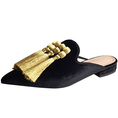 Jushee Frauen Damen Chic Velvet Backless Slip auf Loafers Flache Schuhe Stickerei Schwarz Quaste Handmade Mule Pantoffeln 40 (Keil-flach Niedrigen Ferse)