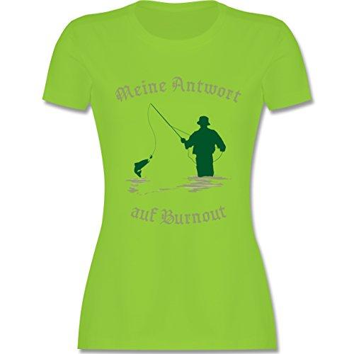 Angeln - Meine Antwort auf Burnout - tailliertes Premium T-Shirt mit Rundhalsausschnitt für Damen Hellgrün