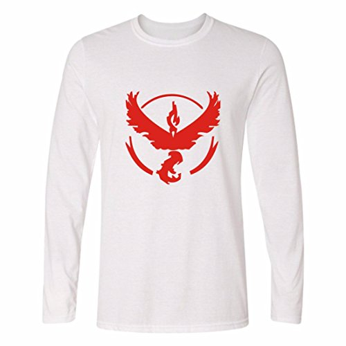Mens 3D Shirts Cotton Yeezy Long Sleeve Crewneck Pokemon Go Sweatshirt WhiteRed