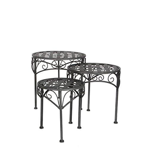 Greenware 158283-T - Muebles de jardín romántico, heces bistro sara 3 conjunto de plazas, gris