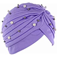 da90b9b16c3 LUFA Women Artificial Pearl Turban Hat Hair Loss Cancer Head Scarves  Chemotherapy Cap Hats
