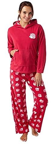 Damen Mikro Fleece Kapuzen Schlafanzüge Magenta Rosa Tiermuster Igel Beutel Tasche Hedgehog (Tierdruck Taschen)