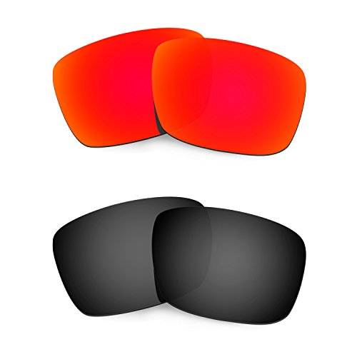 HKUCO Plus Mens Replacement Lenses For Oakley Fuel Cell Sunglasses Red/Black Polarized
