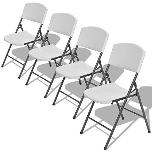 Festnight 4er Set Faltbar Gartenstuhl Klappstuhl Aus HDPE Kunststoff  Stuhlset Sitzgruppe Gartengarnitur Weiß