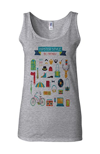 Hipster Life Style Geek Novelty White Femme Women Tricot de Corps Tank Top Vest Gris Sportif