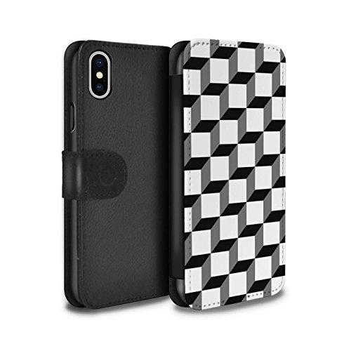 Stuff4 Coque/Etui/Housse Cuir PU Case/Cover pour Apple iPhone X/10 / Formes Abstraites Design / Mode Noir Collection Cube 3D/Modèle