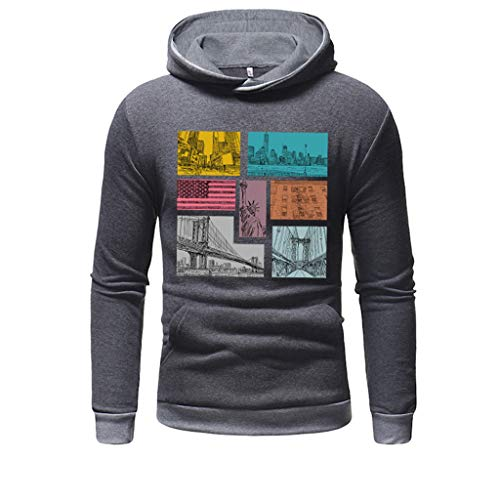 kolila Herren Hoodies Sweatshirts Lässige Print Langarmshirts Kapuzenpullover Oberteile Tops mit Känguru-Tasche -
