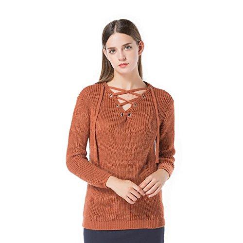 frau sweatshirt stricken tops querriemen v ausschnitt lange ärmel elastizität lose sweatshirts pullovers . brown . one size