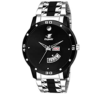 Espoir Analogue Stainless Steel Black Dial Day and Date Boy's and Men's Watch - TwoToneStromMovado