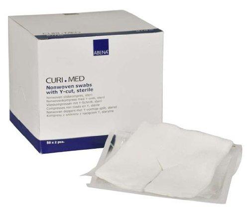 100 Stück Vlies Schlitzkompressen steril 4-lagig Curi-Med 10 cm x 10 cm weiß