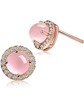Blingery Genuine Round Rose Quartz Stone Ohrstecker Ohrringe 9mm Weihnachten Geschenk