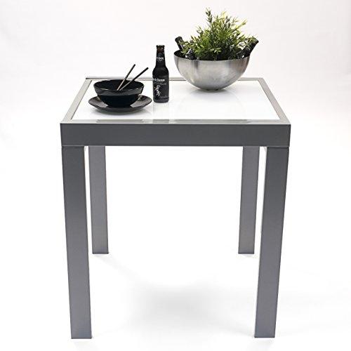 Homely - Mesa Cocina Extensible DELHI. Metal gris y cristal blanco. Medidas...