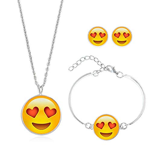 upnanren Zeit-Edelstein-Halsketten-Bolzen-Ohrring-Schmucksache-runder dreiteiliger Satz-Liebhaber-kleine Geschenke