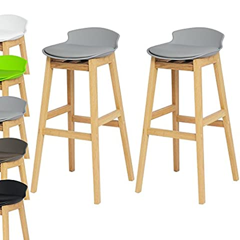 WOLTU BH56gr-2-a Set of 2 Bar Stools Wooden Frame and PU Seat Breakfast Barstools Modern Low Back Design Grey