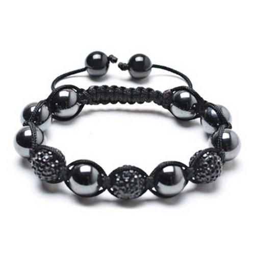 Bling Jewelry schwarzen Kristall Shamballa inspiriert Armband Perlen 12mm