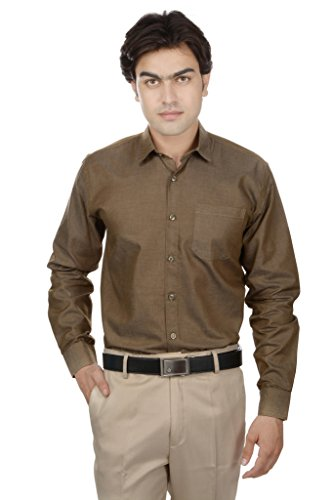 25th R Brown 100% Cotton Slim Fit Solid Plain Self Textured Formal Shirts For Men