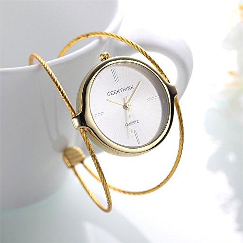 Montres pour des femmes, Geekthink Quartz Analog Watch montre bracelet ouvert en acier bracelet rond montre-bracelet(Gold)