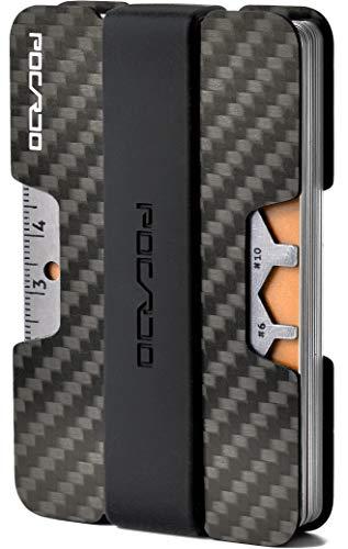 POCARDO Premium Kreditkartenetui aus Carbon inkl. Multitool-Karte | RFID Schutz | Minimalisten Geldbörse (Schwarz und Grün)
