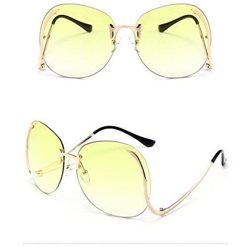 Xshuai Hochwertige Anti-UV Frauen Vintage Retro Gläser Unisex Fashion Aviator Spiegel Objektiv Sonnenbrille ( Himmelblau/ Gelb / Rosa / Dunkelblau / Klar / Braun ) (Zähne Aviator)