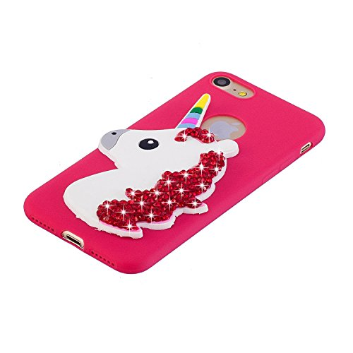 iPhone 6s Plus Hülle Silikon, LuckyW Kristall Crystal Einhorn Unicorn Handyhülle für Apple iPhone 6 Plus/6S Plus (5.5 zoll) Soft Silikon Tasche Transparent Clear Klar Durchsichtig Ultra Slim Thin Dünn Rose Rot