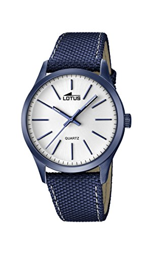 Lotus Men's Quartz Watch with White Dial Analogue Display and Blue Leather Strap 18166/1