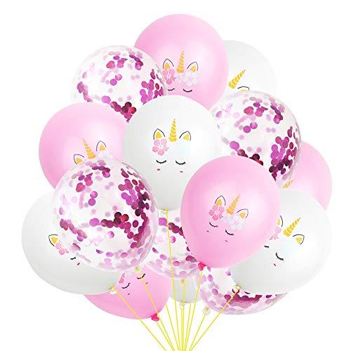 Mattelsen Globos Unicornio & Globos Confeti de Púrpura, Globos Lunares Balloons Decoraciones Fiesta Cumpleaños Boda Globos de Látex 15 Piezas