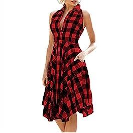 ea8b991cf69b COOLIY Vintage Midi Vestito da Sera Donna Elegante da Sposa Carnevale  Cerimonia Plaid Abito Donna Halter ...