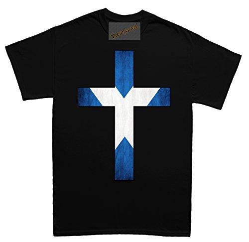 Renowned Cross with Scotland Flag inside Herren T Shirt Schwarz