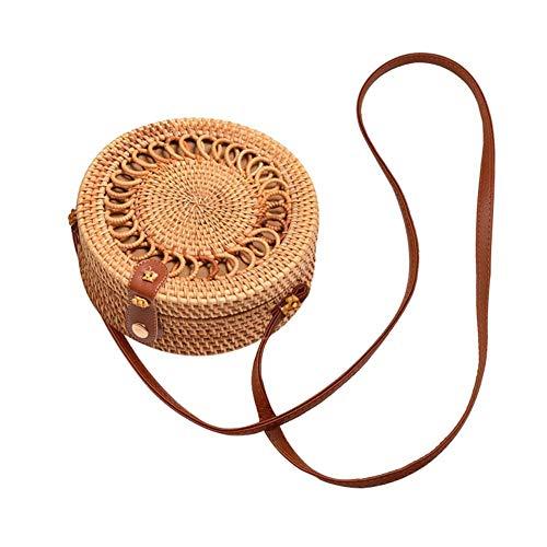 Oddity Damenhandtaschen Umhängetaschen Handtaschen Rattan Schultertasche Handgewebte Runde Retro Handtasche Korbtasche Crossbody Bag Organizer