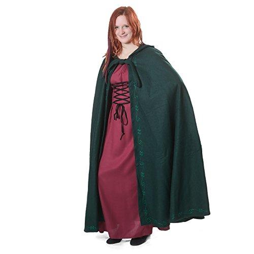 Mittelalter Umhang Damen mit Kapuze und Stickerei Wolle grün - 3