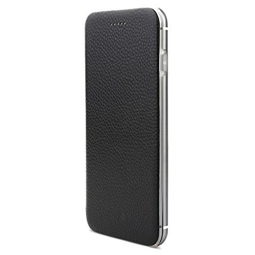 VAPIAO Echtleder Schutzhülle Lederschutzhülle Aluminium Hard Back Flip Cover TPU Case für iPhone 7 Plus in Schwarz Hard Back Iphone