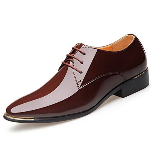 Qianliuk Derby Schuhe für Männer Patent Leder Dress Schuhe Oxford White Formal Male Flats Drop Shipping - Patent Leder Slip