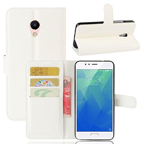 Custodia Cover per Meizu M5S - Ycloud Portafoglio Tasca Book Folding Custodia In Pelle Con Supporto di Stand Cover Case Custodia Pelle Con Stilo Penna Bianco