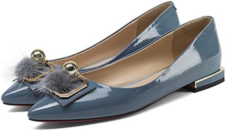 GAOLIXIA Femmes en cuir Four mode Seasons chaussures dames Shallow bouche chaussures plates de mode Four en métal boucle...B07CSSGMGFParent 8936d5