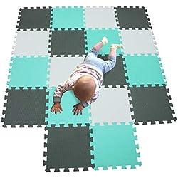 Alfombra puzzle infantil Goma EVA tonos azules
