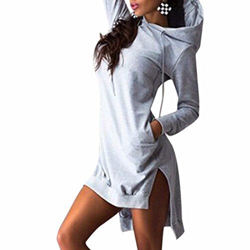 Donne Miscele Del Cotone Del Vestito Bordo Irregolare Felpe Maniche Lunghe Furcal Abbigliamento Casual