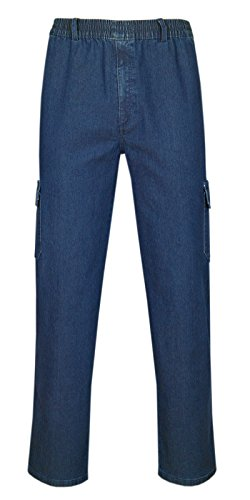 T-MODE Herren Jeans Stretch Schlupfhose Schlupfjeans Gummizughosen Sommer Kollektion-Blue-Jeans-M