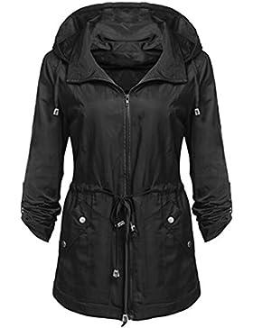 Lenfesh De las Otoño Invierno Abrigo largo de Mujer Ligero dei Parka de bolsillos impermeable