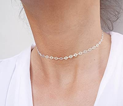 Collier choker chaine cercles - ras du cou argent 925 - tour de cou court - choker chaine argent - collier cercles texturés - bohème-chic