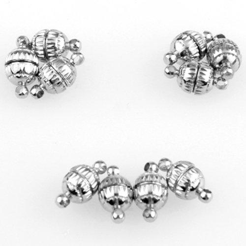 Skyllc® 10pcs rotonda sfera di stile catenaccio magnetico fibbia in metallo 11 * 6 millimetri monili Fare accessori
