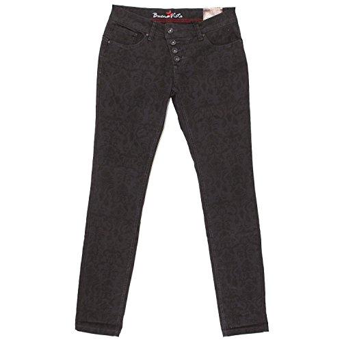 Gabardine Stretch Hose (Buena Vista, Malibu Stretch, Damen Jeans Hose, Gabardine Stretch, lavabraun print, S Inch ca. W 30 L 32 [18083])