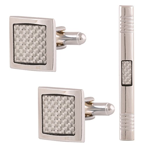 Tripin Square Silver Color Brass Cufflink Gift Set For Men With Amazing...