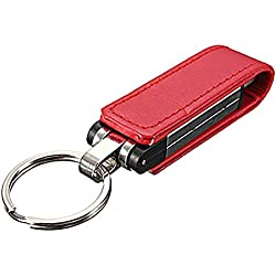 Palillo de memoria - SODIAL(R) 32GB USB 2.0 Palillo de memoria Llaveros caja de cuero Rojo