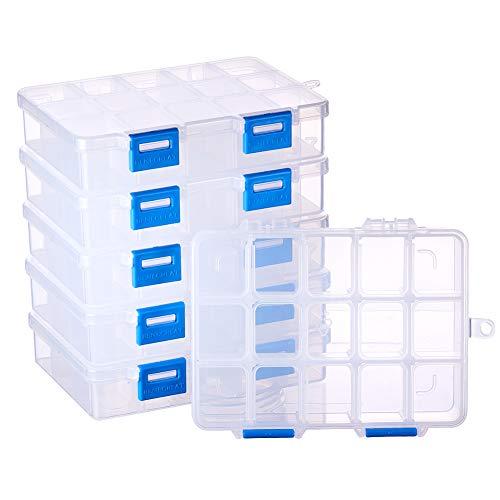 BENECREAT 6 Pack 15 Grids Schmuck Teiler Box Organizer Einstellbare Hochwertiger Durchsichtig Kunststoff Bead Case Vorratsbehalter 14x10x3cm, Fach: 3x2.5cm