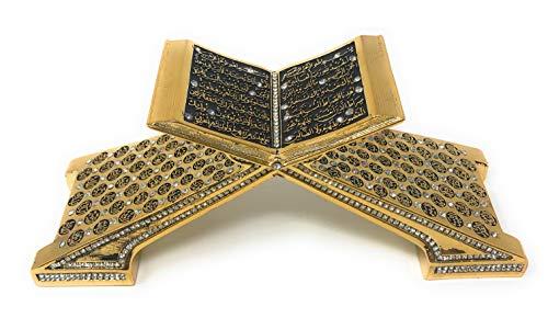 Yagmurkanischer Koran offenes Buch mit Al-Fatiha S?Rat al-F?ah und Surah Al Bakara (Elif-lam-mim) – Muslim Home Decor Showpiece Ornament Geschenk