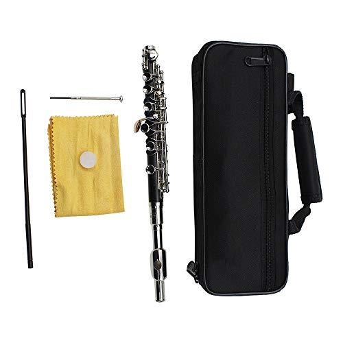 T-XYD Piccolo Messing versilbert 16 Löcher E Schlüssel Ton Piccolo Instrument mit Tragetasche Stand Handschuhe Putzstock und Tuch,Silber