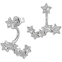 SilberDream GSO419W Pendientes ear cuff para mujeres, estrellas, circonitas y plata 925