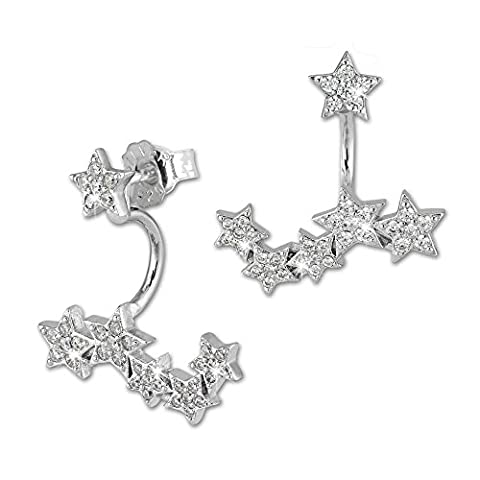 SilberDream Dangle Ear Cuff ­ Etoile Zircons blancs - Boucles
