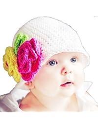 LadyMYP©Handgemachte Strickmütze, Babymütze, Kindermütze, Hüte, 100% Wolle, weiße Mütze mit gelber und rosa Blume