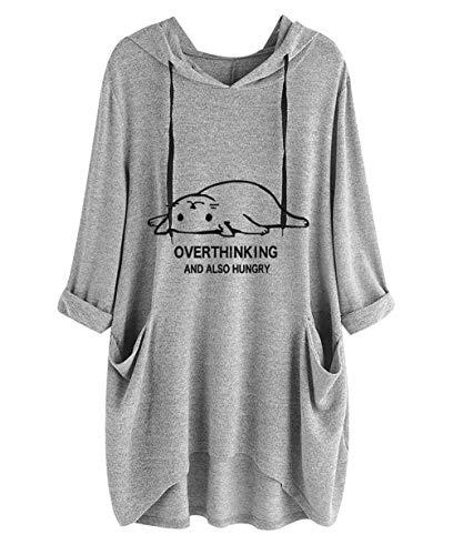 Overthink and Also Hungry Cat Ear Graphic Damen Tunika Top 3/4 Ärmel Pullover Cute Hoodies Shirt Gr. M, grau -